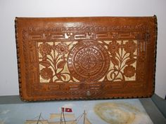 1940s Hand Tooled Leather Clutch // Leather // Vintage Purses-SR