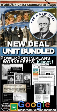 The New Deal Unit - Includes PowerPoints, primary source readings, editable assessment, and a project, all bound together by daily lesson plans. Each lesson begins with a warm-up, and continues with PowerPoint notes, primary source document readings and an exit ticket. #HistoryLessonPlans #socialstudies #AmericanHistory #USHistory #Highschoollessons #DistanceLearning #Remotelearning Teaching American History, American History Lessons, Teaching History, History Lesson Plans, Daily Lesson Plan, Teaching Social Studies, Reading Activities, The Unit, Warm