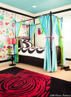 recamara para una adolescente   Unique-Wallpaper-Girls-Bedroom-Ideas