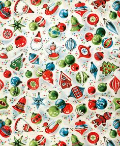 Christmas wrapping paper. Love the retro designs. We used to buy our Christmas paper in folded packages with designs a lot like this one. I miss those days.