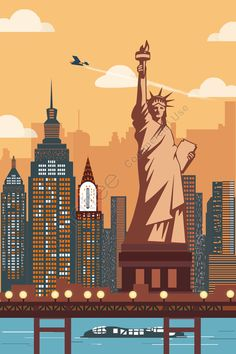 International City New York Statue Of Liberty Architectural Scenery illustration image New York Illustration, Travel Illustration, Nova York Poster, Art Deco Posters, Poster Prints, New York Statue, City Vector, Henri Matisse, New York Travel