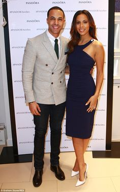 Stunning: Rochelle looked gorgeous in a dress from her Very collection - while her man was suited and booted