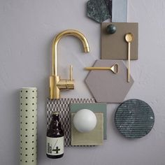 Inspirational with soft colors complimenting our Great stuff! Bathroom Taps, Bathroom Inspo, Scandinavian Interior Design, Concept Board, Bathroom Essentials, Green Marble, Guest Bath, Soft Colors, Faucet