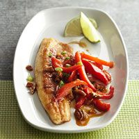 Pan-Fried Fish with Peppers and Pecans Recipe - different and delicious