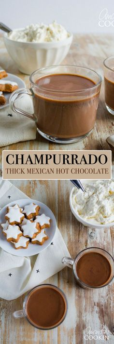 Champurrado is a Mexican hot chocolate married with an atole, a traditional masa. Champurrado is a Mexican hot chocolate married with an atole, a traditional masa-based Mexican hot drink. Masa harina is used to thicken this rich drink. Mexican Hot Chocolate, Hot Chocolate Recipes, Chocolate Desserts, Chocolate Cake, Mexican Drinks, Mexican Food Recipes, Fun Recipes, Drink Recipes, Recipe Ideas