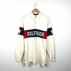 2d9e991354c TOMMY HILFIGER Vintage 90s Big Logo Hilfiger Spell out Star Patches Rappers  Style Rugby Polo Shirt