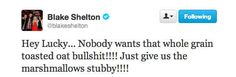 When he got political about Lucky Charms. | 18 Times Blake Shelton Made Us Laugh Out Loud