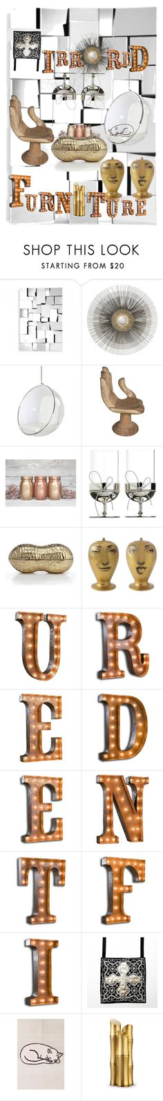 """""""Mirrored dream home"""" by natipureidea ❤ liked on Polyvore featuring interior, interiors, interior design, home, home decor, interior decorating, Zuo, Crate and Barrel, Wedgwood and Fornasetti"""