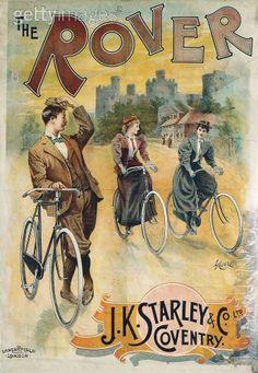 Cartel de la primera bici Inglesa Rover 1885.