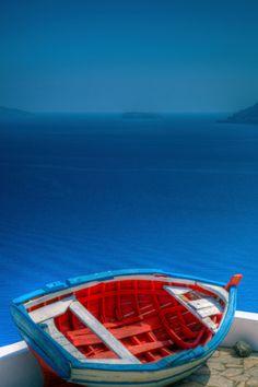color, paddl, boats, blue skies, cool blue, greek islands beach, blues, oia santorini greece, nautic