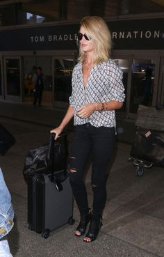 Ladylike with an Edge: Rosie Huntington-Whiteley's Print Blouse and Open Toe Booties: The Budget Babe waysify