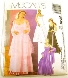 Women's Lined Dress and Stole McCall's 3248 plus petite (uncut factory fold pattern). $5.00, via Etsy.