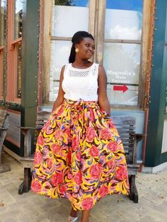 NEW Yellow and Pink African Ankara Midi Skirt; African Clothing; African fashion; African Print; African Skirt - pinned by pin4etsy.com