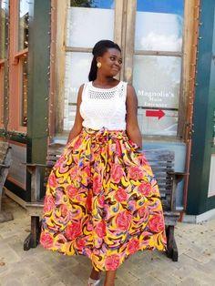 NEW Yellow and Pink African Ankara Midi Skirt; African Clothing; African fashion; African Print; African Skirt - pinned by pin4etsy.com