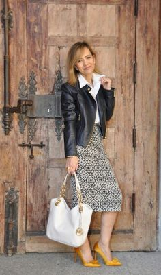 Michael Kors leather jacket and bag. Zara skirt and shoes.  www.myladytrends.com