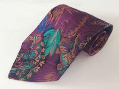 Basic Elements Neck Tie Purple Orange Blue Turquoise Floral 100% Polyester #BasicElements #NeckTie