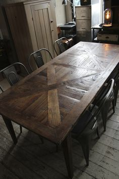 Elm Parquetry Dining Table | discoverattic