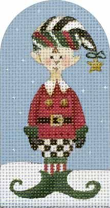 Melissa Shirley Designs | Hand Painted Needlepoint | Striped Hat Elf ©Debbie Mumm