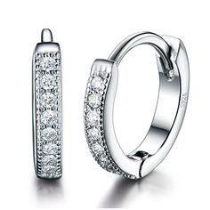 MASOP Women Girls Jewelry 925 Sterling Silver Small 13mm Round Hoop Earrings * You can get more details by clicking on the image. Note:It is Affiliate Link to Amazon.