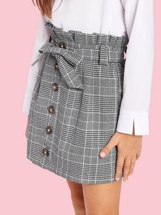 Girls Paperbag Waist Button Up Plaid Skirt With Belt – Kidenhouse