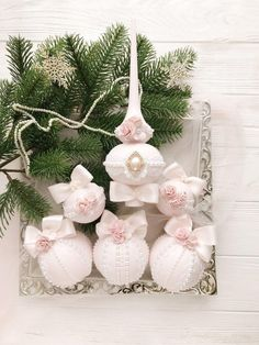 Blush Pink Christmas Ornaments Handmade Xmas Ornaments Vintage Christmas Gifts for Mom from Daughter Shabby Chic Christmas Ornaments SET6pcs