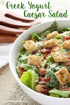 Greek Yogurt Salad Dressing, Yogurt Salad Dressings, Greek Yogurt Chicken Salad, Greek Yogurt Recipes, Chicken Caesar Salad, Low Fat Salad Dressing, Greek Pasta, Salad Recipes For Dinner, Salad Dressing Recipes