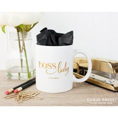 Boss Lady 22k Gold Coffee Mug Unique Coffee Mug Quote Mug... ($24) ❤ liked on Polyvore featuring home, kitchen & dining, drinkware, drink & barware, home & living, mugs, silver, gold coffee mug, white mug and quote mugs