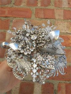 posy created using clear silver diamante accents