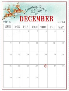 Heres the calendar I made for my 2014 December Daily. You are welcome to download and use it...