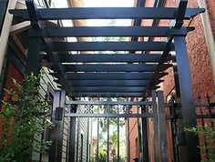 Aluminum navy blue pergola for shade over a patio, navy would blend nice with the yellow, white and lighter blue colors in the garden already Diy Pergola Kits, Diy Gazebo, Aluminum Pergola, Wood Pergola, Backyard Ideas, Outdoor Ideas, Landscaping Ideas, Outdoor Decor, Garden Ideas