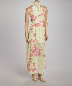Love this Green & Pink Floral Sleeveless Maxi Dress - Women on #zulily! #zulilyfinds