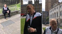 Dramatic moment sex offender snared by paedophile hunters outside Houses of Parliament