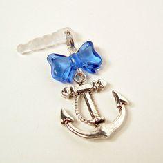 Cell Phone Charm Dust Plug Earphone Retro Sailor Lolita Blue Bow by blacktulipshop, $5.00