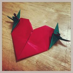 """""""Heart with cranes""""  Designed by Andrey Lukyanov. Folded by me for the Origami Olympiad. Task 1."""