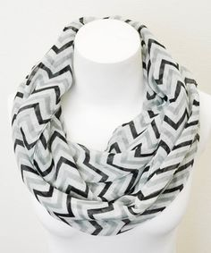 Leto Collection Gray & White Chevron Infinity Scarf by Leto Collection #zulily #zulilyfinds