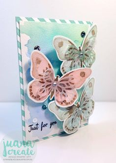 Crazy Crafters October Blog Hop with Special Guest Bibi Cameron. Watercolor Wings - Just For You latch card. Juana Create.