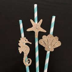 Seashell/Starfish/Seahorse paper straws .. Under the sea party .. little mermaid…
