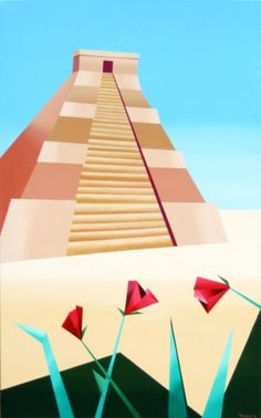 Mark Webster - Abstract Geometric Pyramid Acrylic Painting, painting by artist Mark Adam Webster