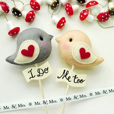 LOVE BIRDS Wedding Cake Topper Name Personalized and Custom Color (listing of 2 birds) - Wedding Decor, Party Favors Bride Friendship Gift