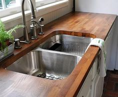 DIY Butcher Block Countertops. This was done for only 40 bucks if you can believe it!  Inexpensive fabulousness!