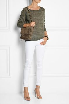 color-blocking accessories with clothing--the bag is the color of the sweater and the shoes are lighter, like the jeans.