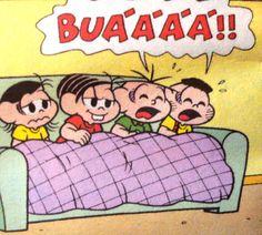 Choradeira, Magali, Monica, Cebolinha e Cascão. Ilustração de Maurício de Sousa.