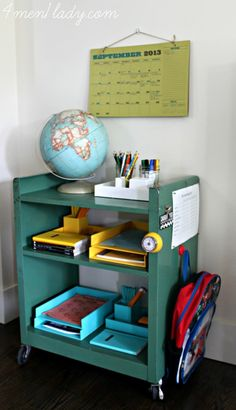 Homework station for two kids, including a reading timer