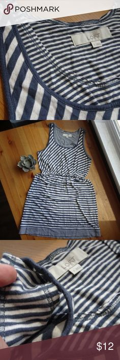 "🍁 LOFT Striped Sleeveless Dress Excellent condition Sleeveless cotton linen blend dress Two layers in bust area above elastic waist (Picture 3) Pretty soft blue and white stripes Across at armpit 17""  Across at waist 12 1/2 (with tons of stretch)  Across at hip approx 18 1/2"" but there's tons of stretch throughout  All items come from a non-smoking home! LOFT Dresses"