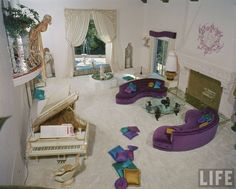 Jayne Mansfield & her living room in the 'Pink Palace' in Beverly HIlls.