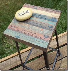 Snazzy yardstick topped stool - Creative Passage