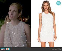 Chanel's white embellished dress on Scream Queens.  Outfit Details: http://wornontv.net/52204/ #ScreamQueens