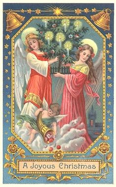 Vintage Christmas Card with angels! (1/2/2014) Christmas  (CTS)
