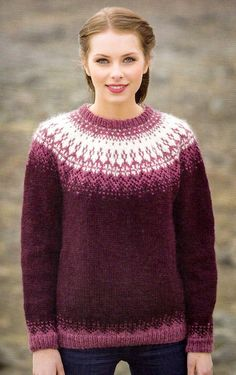 - Icelandic Særós (Rose of the Sea) Women Wool Sweater Purple - Tailor Made - Nordic Store Icelandic Wool Sweaters - 1 Fair Isle Knitting Patterns, Knit Patterns, Icelandic Sweaters, Wool Sweaters, Tejido Fair Isle, Motif Fair Isle, Norwegian Knitting, Knitting Wool, Wool Yarn