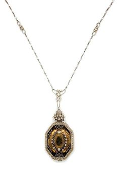 Edwardian Platinum, Gold and Diamond Pendant-Watch with Chain   Dial signed Agassiz, c. 1910, ap. 20 dwt.